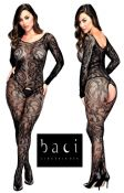 Baci Lingerie [ UK 8 - 14 ] Black Floral Lace Open Style Bodystocking (E29032)